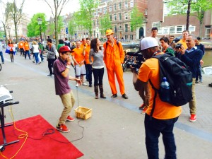 Shooting branding videos in Amsterdam, Kingdom of The Netherlands, on King's Day 2014.