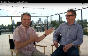 Kyle (right) interviews charismatic executive coach and Second City comedian Michael Collins.